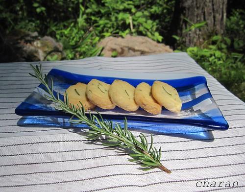 青いストライプのお皿②とローズマリーのサブレ by Poran111