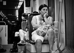 Preocupaciones (Fotomondeo) Tags: people espaa woman valencia tren mujer spain nikon gente tram alicante d3000
