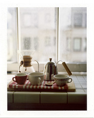 breakfast is served (doublecappuccino) Tags: window kettle ruby chemex roidweek polaroid110b roidweek2011