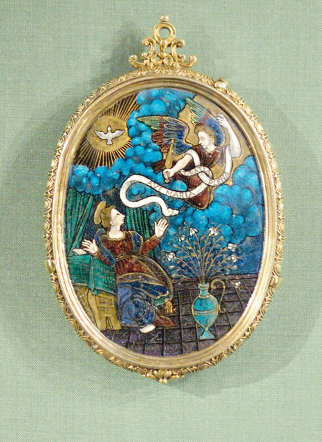Saint Louis Art Museum, in Saint Louis, Missouri, USA - Annunciation, early 17th century enamel ad gold paint on copper with silver foil, François I Limosin, French, ca 1599-after 1636
