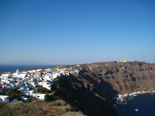 The village of Manolas on the island of Therasia, Santorini, overlooking the caldera.