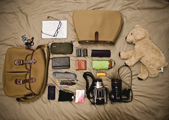 What's in my Brady Ariel bag? (joeylu) Tags: camera dog ariel ikea leather canon bag psp golden oliver lego 4 khaki panasonic canvas peoples hasselblad pirate muji 500c 5d 24mm brady whatsinmybag f28 insert planar iphone ndg 80mm mattblack lenspen f14l lx3 gosig