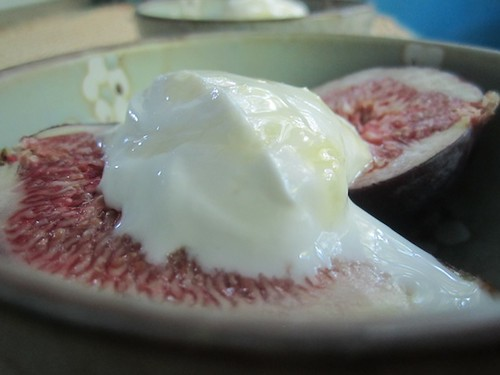 Figs with Greek yogurt and hyperlocal honey