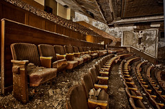 rows of seats (nerradk) Tags: old abandoned theater chairs decay ripped seats crumbling stinks awfullight