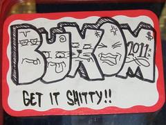 BUXOM (]L ][ /A\ ]M[) Tags: streetart oregon portland graffiti sticker glue illegal slap