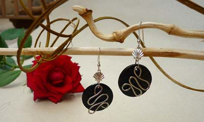 Black & White Tagua Beaded Earrings