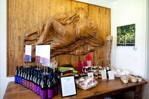 One of the sculptures inside the tasting room