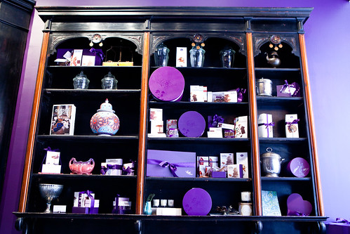 Shelves of trinkets and chocolates