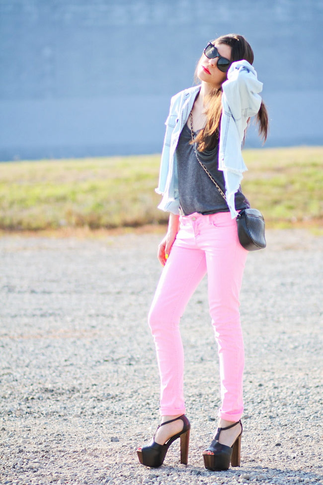 Neon Pink Skinny Jeans, Hot Pink, Fluorescent Fashion, Jessica Simpson Dany, Outfit, One Teaspoon Mickey Denim Shirt, Neon Nail Polish