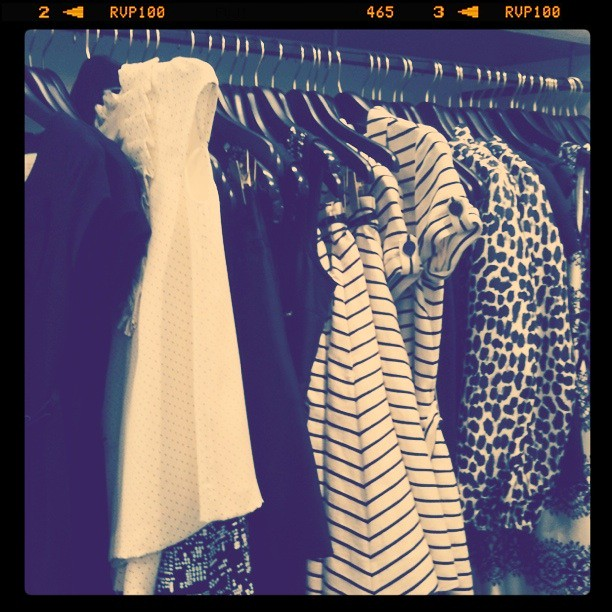 the black and white rack at Kate Spade