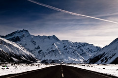 The Road To Mt Cook (Jesse4870) Tags: road new trees sky mountain snow alps clouds plane mt village cook mount southern trail zealand nz aoraki apline