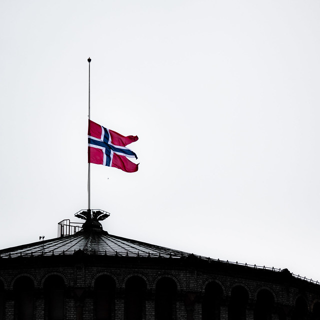 Norwegian flag at half mast