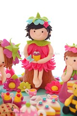 Emily the birthday fairy! (Little Cottage Cupcakes) Tags: birthday flowers cake cupcakes picnic fairy teacups teapot caketopper sandwiches hotpink fondant cherrypie sugarpaste littlecottagecupcakes