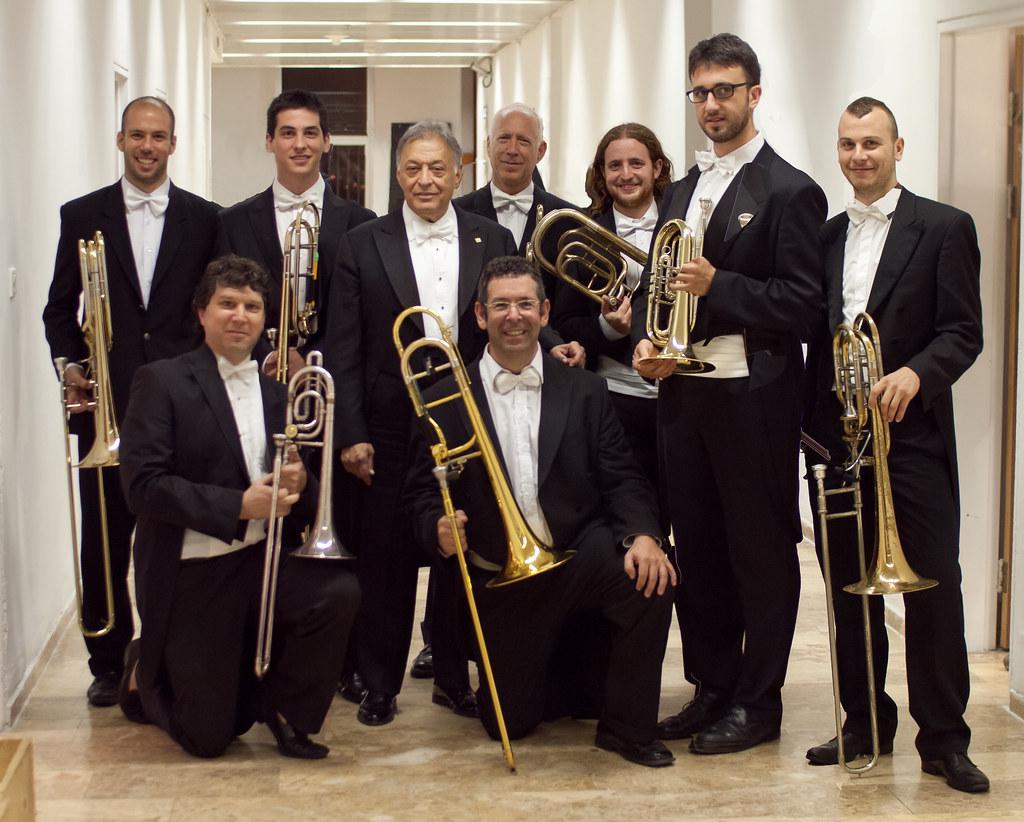 Zubin Mehta poses with Schoenberg's Gurre-Lieder eight-man trombone section
