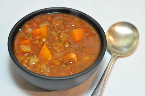 Spicy Carrot, Tomato and Lentil Soup