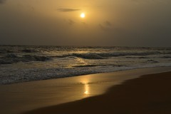 The Golden Dusk... (anindya55) Tags: ocean sunset sea sun beach night landscape nikon waves dusk ngc clear sankar turtlebay anindya turtlebaybeach d5100 nikond5100 anindyasankardey
