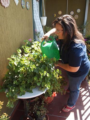 Daniela in her balcony garden