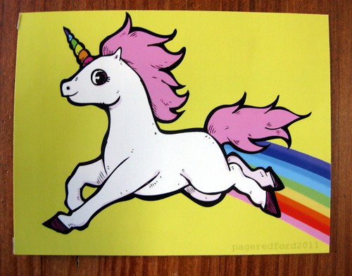 Rainbow unicorn postcard