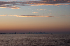chicago from Whiting IN (Hoffenbrau Studios) Tags: sunset chicago canon lakemichigan hazy chicagoist sotc wronglens