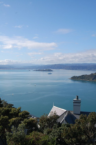 Wellington harbour on a beautiful mid-winter day (to think it was snowing a few days back!)