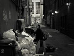 Trash or Treasure (dc.roake) Tags: seattle night lights alley treasure sundown mattress blackwhitephotos dcroake dcroakephoto