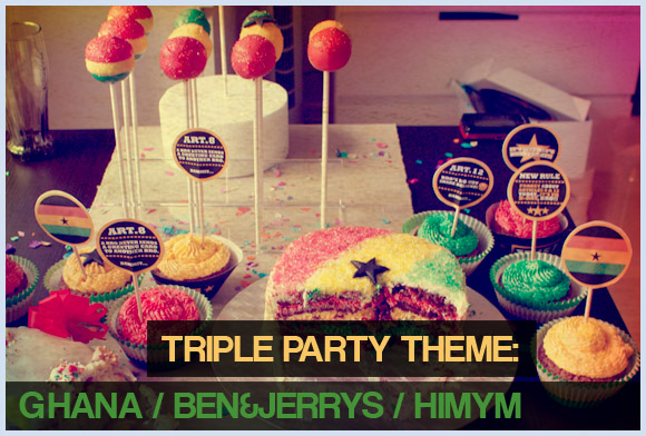 Colorful Ghana/African themed Cake Pops - ben&jerrys - how i met your mother toppers