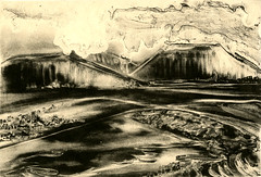 Enlightenment Eastern New Mexico Lithograph (plasticpumpkin) Tags: blackandwhite mountains newmexico clouds landscape asian fineart cream printmaking mesas litho lithograph mountainrange tonerwash