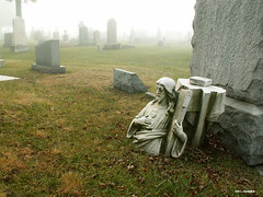 Grounded for Life (TooLoose-LeTrek) Tags: cemetery statue fog death jesus statuary