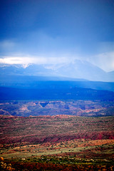 San Juan Mountains (John Pope Photography) Tags: storm mountains color rain canon utah day sanjuan archesnationalpark sanjuanmountains stormrainutah