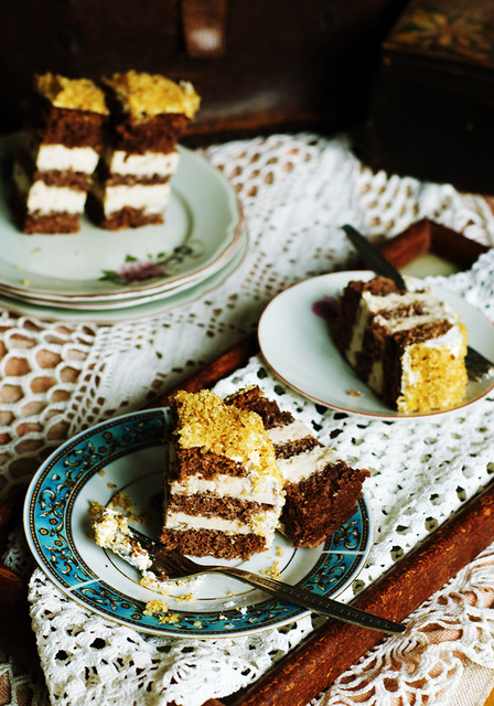 Hungarian walnut cake with jellied soured cream filling