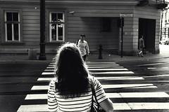 stripes & stripes / paski & paski (donchris!) Tags: street woman photography la donna mujer crossing strasse femme poland polska krakow pedestrian polen frau crosswalk krakw zebrastreifen polonia krakau pologne kobieta ulica blackwhitephotos