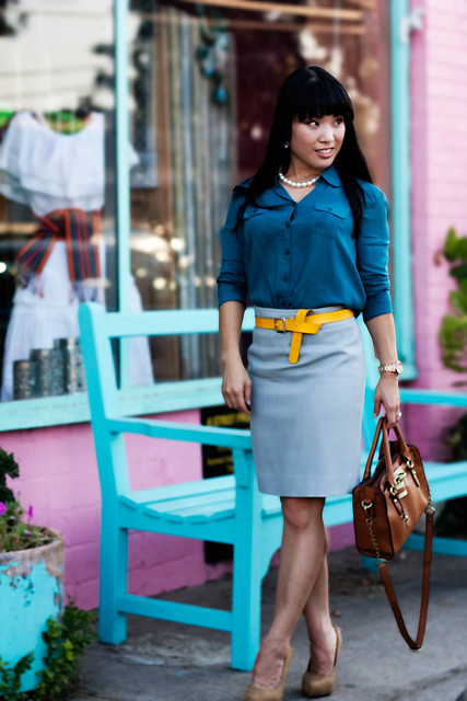 urban outfitters cooperative loose button-up crop shirt j. crew wool crepe pencil skirt cool dusk mk5430 gap mustard snakeskin belt forever 21 mustard pumps pearl necklace melie bianco madison