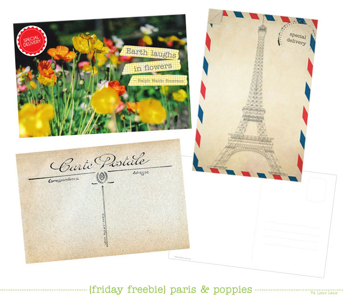 {friday freebies} poppies and paris postcards