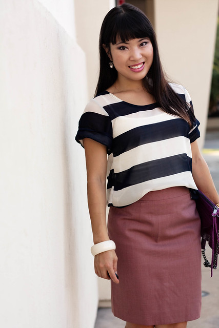 delias hi/lo striped shirt j. crew super 120s pencil skirt mauve steve madden tumbled white slingbacks rebecca minkoff mac convertible clutch magenta