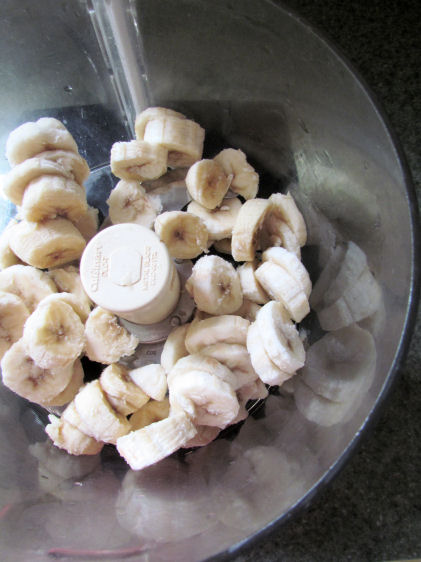 Frozen bananas into the Food Processor
