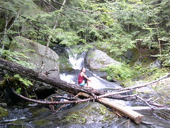 Jen at the lower falls on Gulf Hagas Brook (ems18) Tags: chris summer hiking jennifer maine august appalachiantrail screwaugerfalls gulfhagas 100milewilderness piscataquiscounty