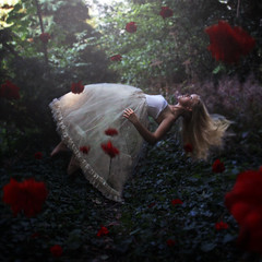 Belle's Dream (rosiekernohan) Tags: trees red roses ballet woods dress magic levitation fantasy belle beautyandthebeast outoftherose rosiekernohan bellesdream