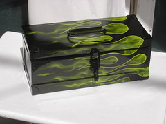 STEEL TOOL BOX REAL FIRE by FENO (FENO Artworks.) Tags: art love bike race cafe arte box helmet harleydavidson moto hotrod flakes tool airbrush motos ratrod gilding stell pinstriping brodery 70 artfeno kandykustom sportster883hd