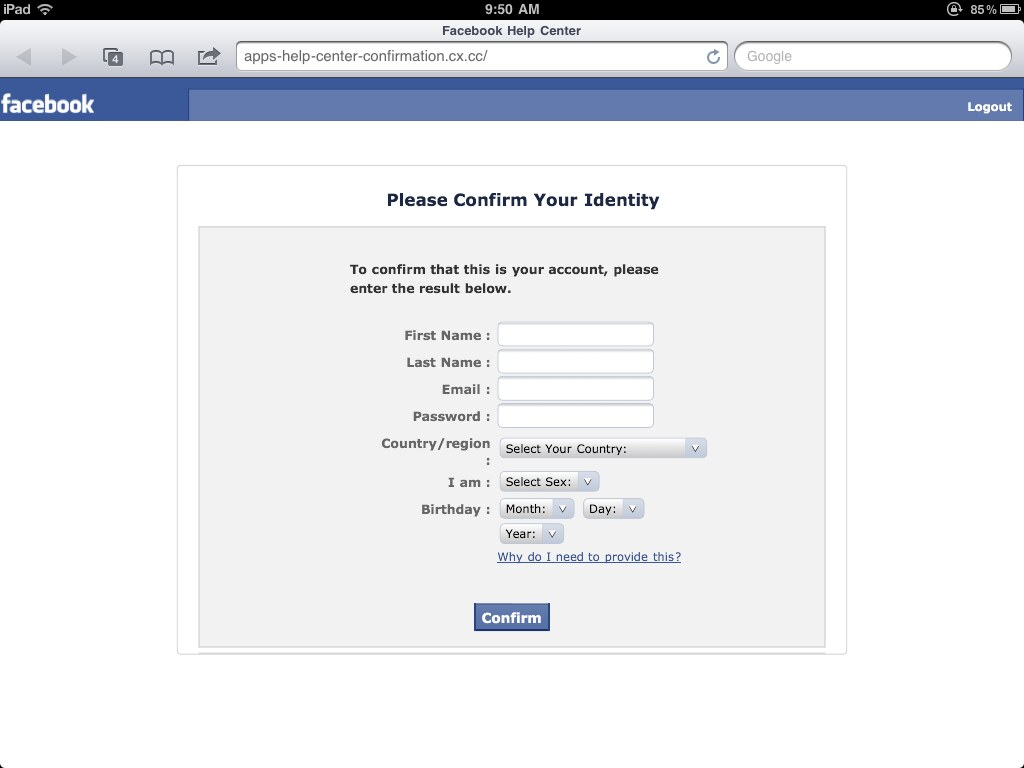 landing page of the fake facebook account confirmation messages