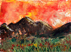 Sunset in the mountains (Wasfi Akab) Tags: pink flowers blue original light sunset shadow red sky italy cloud brown sun white mountain black mountains flower color green art nature beautiful beauty grass yellow modern clouds painting paper landscape geotagged florence europe paint strada artist italia day artistic outdoor iraq east painter oil impressionism firenze exile middle toscana impressionist iraqi artista ocher middleast akab wasfi