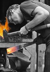 Hot Iron (dunne_s) Tags: hammer fire iron ironwork blacksmith anvil sledge