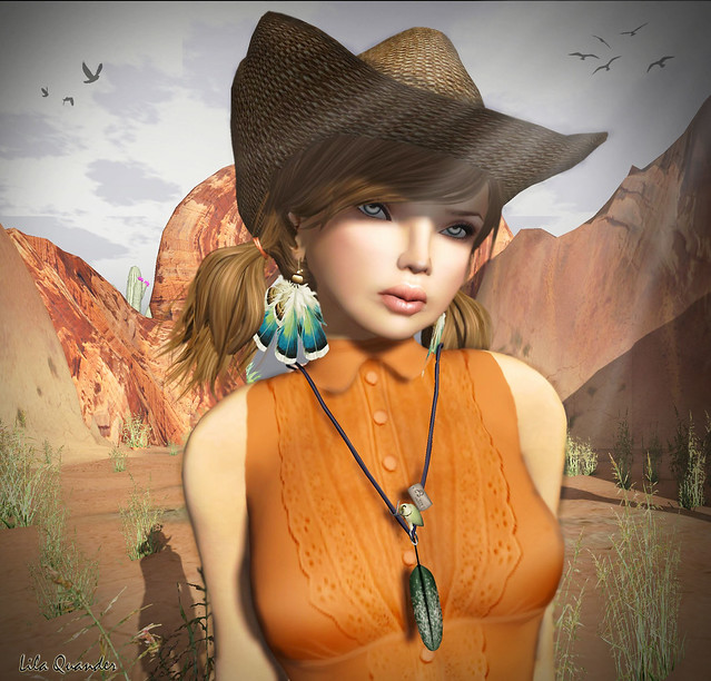 Elly Victorian Top - orange, Hat - brown & MONS Feather Earrings - Blue