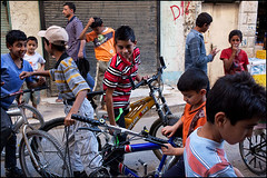 Kids and Bikes - Kerak (Maciej Dakowicz) Tags: street city people bike bicycle children person kid asia country middleeast arabic jordan arab arabia kerak bikeshop karak kingdomofjordan