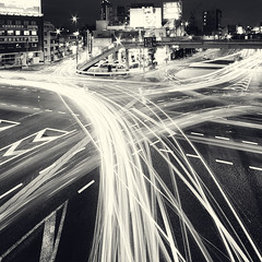 intersection (planet-110) Tags: city nightphotography urban blackandwhite bw night tokyo cityscape  intersection afterdark lightstream traffictrail