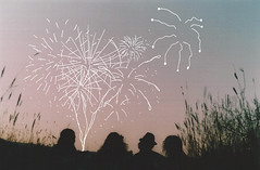 Explosions in the sky (keyana tea) Tags: sunset summer jenna film field self fireworks drawing silhouettes curls 150 100 brianna canonae1 4thofjuly 50 larice collaboration cheyenne ohp keyana plakkikanteletar