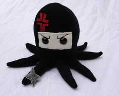 Angry Ninja Octopus Plushie (Sarahbella3) Tags: red black anime thread japanese stuffed handmade ninja sewing felt plush marks angry plushie octopus fleece sewn shuriken