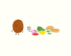 Nude Beach (Laser Bread) Tags: illustration tshirt cheeseburger nudebeach