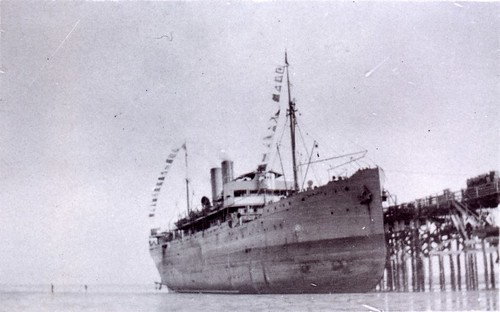 1921 The Bambra on mud at Broome. Return journey from survey of SAWA border - KHS-2011-15-10-P2-D