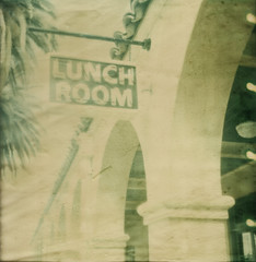 Lunch Room, Kelso Depot (underthewaves) Tags: california tree film sign polaroid neon desert trainstation palmtree f2b tz kelso timezero expiredfilm polaroidsx70 fadetoblack mojavenationalpreserve 2011 kelsodepot 7977 roidweek drytechnique artistictz artistictimezero polaroidfadetoblackfilm inaccurategeotag roidweek2011 roidweeksummer2011