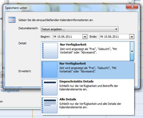 Kalender-Export unter Outlook
